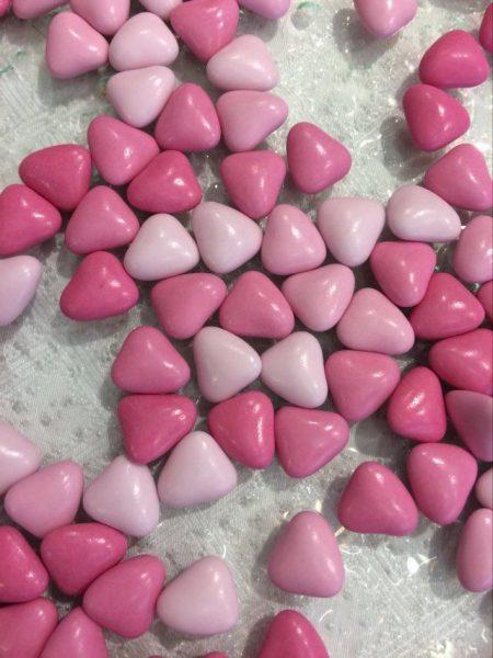 dragées mini coeurs roses