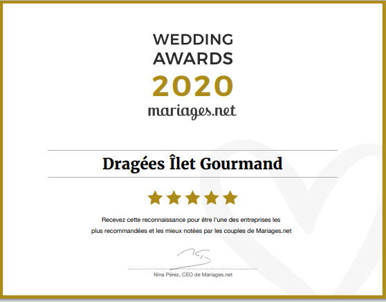 Diplôme Ilet Gourmand - Wedding Awards 2020
