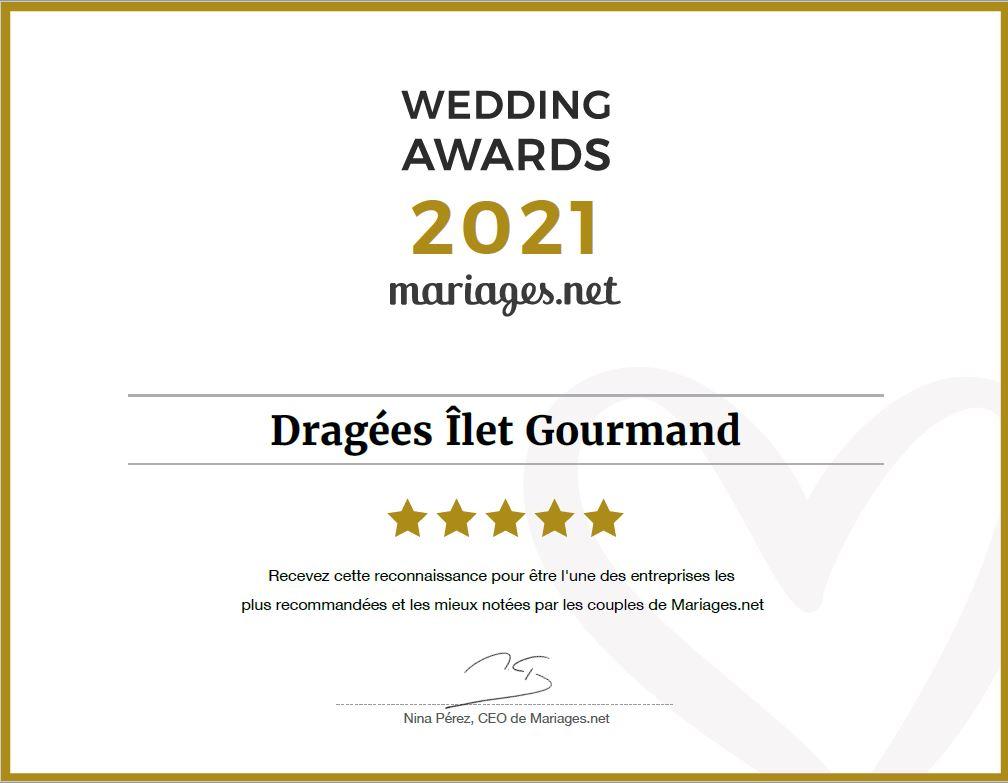 diplôme Ilet Gourmand Wedding Awards 2021
