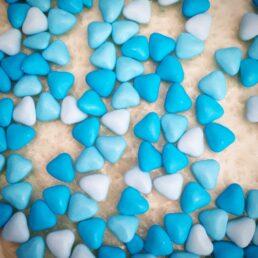 Dragées mini coeurs bleus